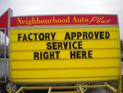 Factory approved Service at Neighbourhood Auto Plus
